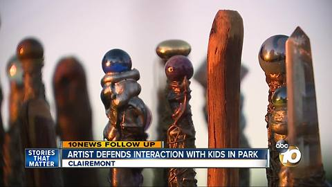 Artist who makes wands defends interaction with kids in park