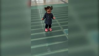 Toddler's Clear Floor Confusion - Video