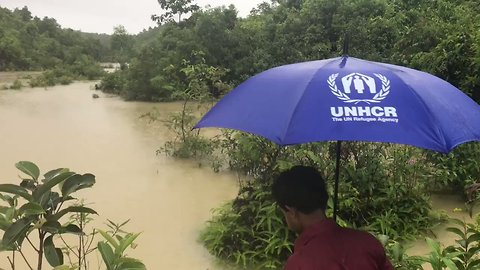 UNHCR Footage Captures Flooded Conditions as Rohingya Refugee Settlements Evacuated in Bangladesh