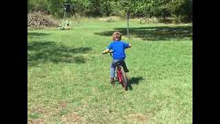 Young Boy's First Time Riding Bike Doesn't Go as Planned - Video