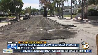 Mayor says paving project ahead of schedule