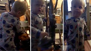 Wash your mouth out – Toddler drops f-bomb over vacuum cleaner frustration  - Video
