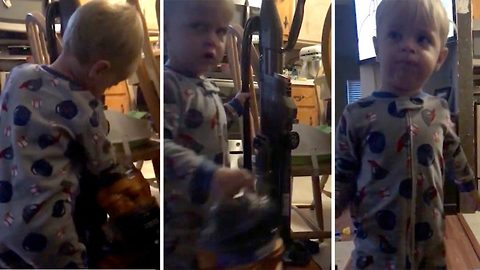 Wash your mouth out – Toddler drops f-bomb over vacuum cleaner frustration
