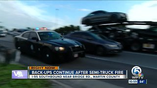 Semi hauling potato chips catches fire on I-95 southbound in Martin County