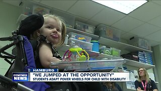 Frontier students adapt power wheels for child with disability