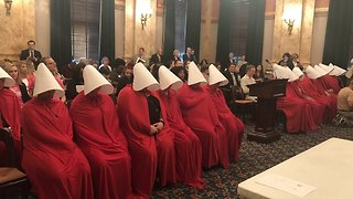 Women Dressed as Handmaids Protest Ohio Abortion Bill - Video