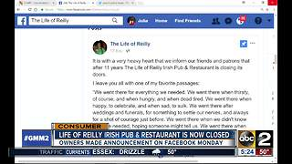 Life of Reilly Irish Pub & Restaurant Closes - Video