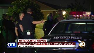 La Mesa officer opens fire on murder suspect - Video