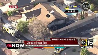 Firefighters battling blaze at Glendale house - Video