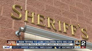 Cecil Co. deputies fear man in black sedan attempting to lure children - Video