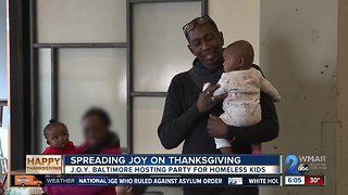 J.O.Y. Baltimore hosts a Thanksgiving Day party for city's homeless youth