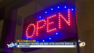 Restaurant reopens one week after shooting rampage