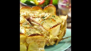 Potato cake with cheese and ham