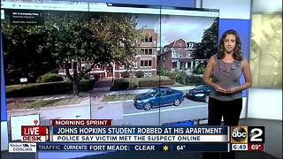 JHU student robbed by man he met online - Video