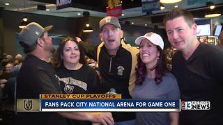 Fans watch Golden Knights playoff game at City National Arena - Video