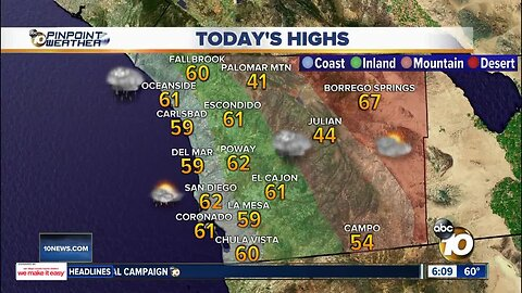 10News Pinpoint Weather | Saturday, Feb. 22
