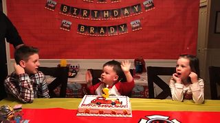 Cute Toddler Stops Birthday Celebration - Video