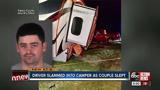 Couple survives after alleged drunk driver slams into their camper