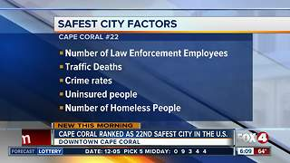 Cape Coral among top 25 safest cities in America - Video