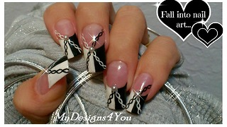 Black and white chain effect nail art design - Video