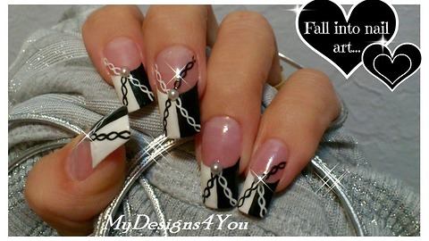 Black and white chain effect nail art design