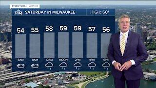 Scattered showers Saturday with highs near 60