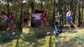 Girl Takes Herself Out Trying To Swing A Golf Club