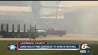 Large mulch fire burning in Lawrence County - Video