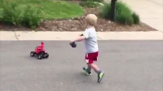 Little Boy Chases His RC Car - Video