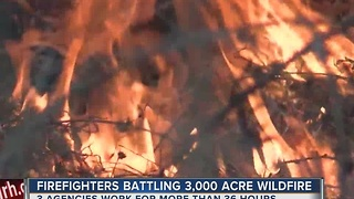 Firefighters Battling 3,000 Acre Wildfire Near Porum - Video