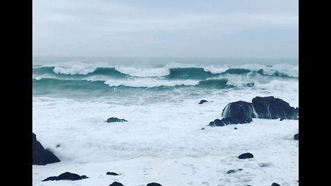 Waves Crash Against Rocks in Bodega Bay