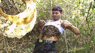Honey collector stuffs thousands of bees under his T-shirt