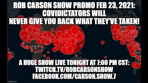 ROB CARSON SHOW PROMO LIVE TONIGHT AT 7:00 PM CST!!!