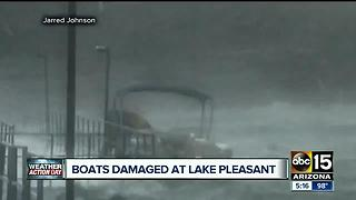 Storm rolls through Lake Pleasant damaging dock, boats - Video