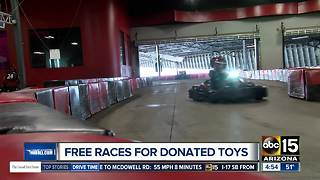 Get free indoor races for donating toys - Video
