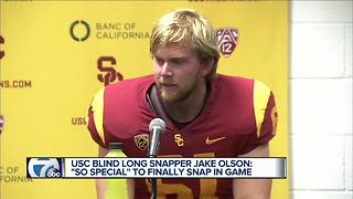 USC blind long snapper Jake Olson reflects on first snap in live game - Video
