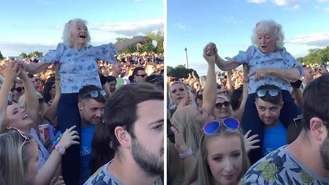 This Gran Was Caught On The Shoulders Of A Festival Goer At TRNSMT