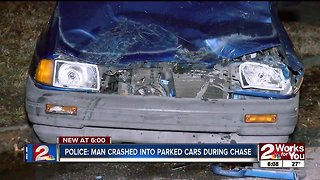 Police: Man crashes into parked cars during chase