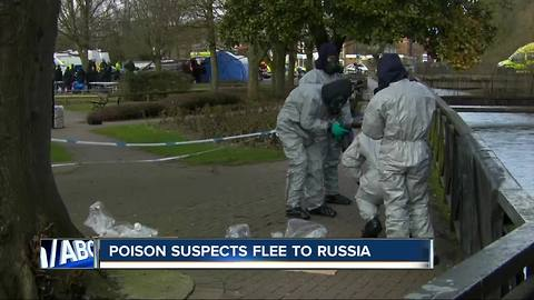 Suspects in woman's poisoning escape to Russia