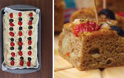 Potato focaccia with tomatoes and olives