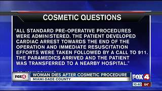 Miami woman dies after cosmetic procedure - Video