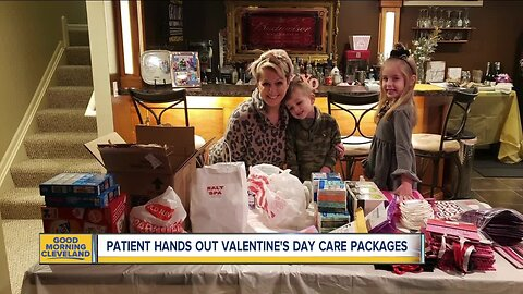 Cancer survivor hands out Valentine's Day care packages to patients