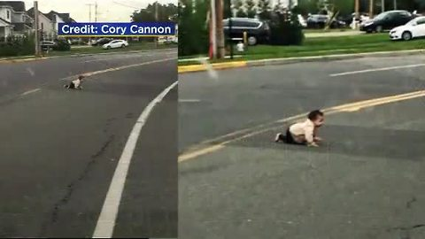 Driver Finds Baby Crawling Across A Street In New Jersey