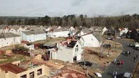 Drone Footage of Tornado Destruction Southwest of Atlanta