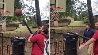 GUY PERFORMS HILARIOUS BLOWOUT USING LEAF BLOWER FOR SLAM DUNK