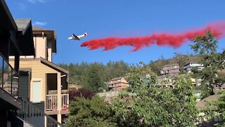 Airplane attempts to put out fire on top of Mill Hill Park in UK