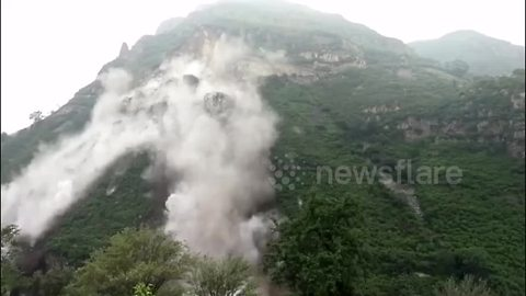 A colossal landslide buries roads in Beijing