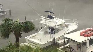 Boats Rocked by Severe Winds and Rain Ahead of Harvey Landfall - Video