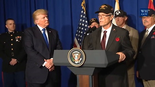 Video: Vietnam Vet Weeps on Donald Trump's Shoulder During Ceremony - Video