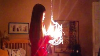 Young Girl Knocks Down A Chandelier While Doing A Christmas Dance Routine